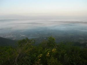 Looking down on the community of Pignon, from on top of the mountain.