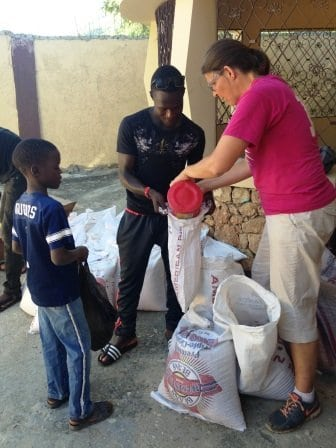 Carol helping with one of the food distributions during the week.