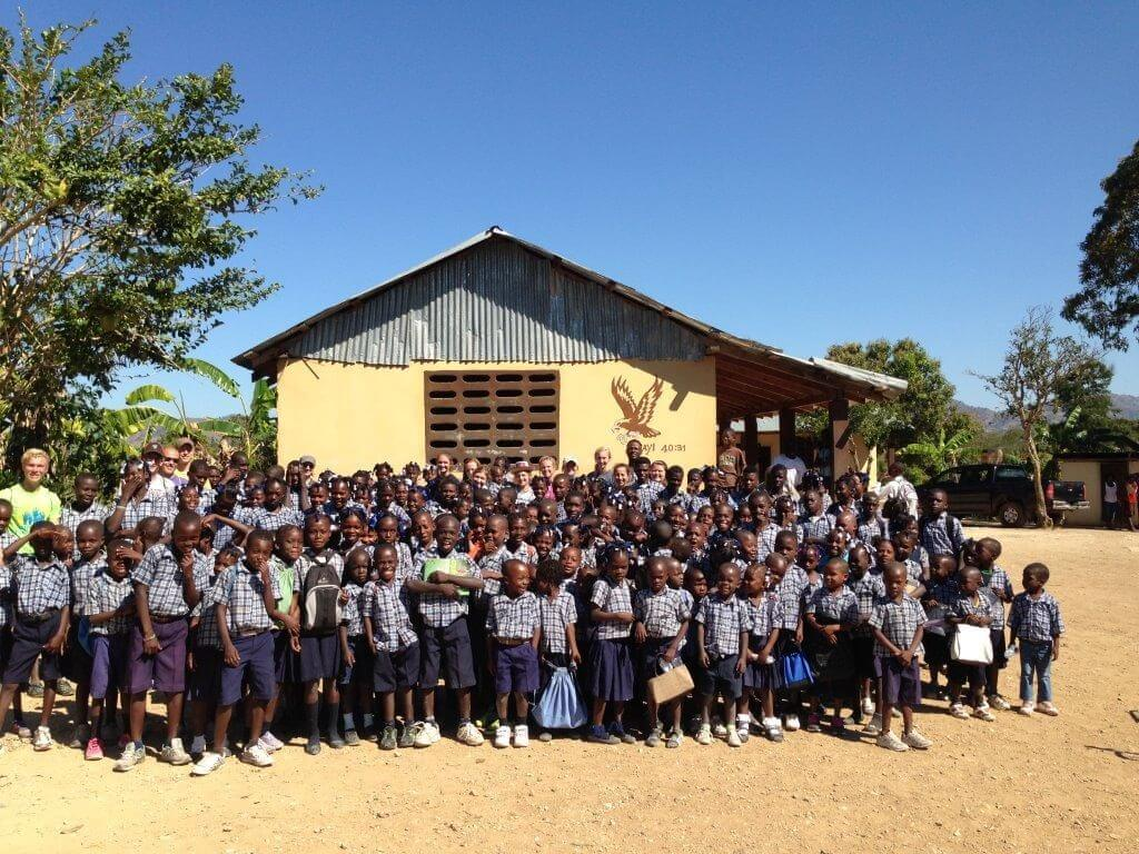 Class shot of Pella Christian School in Savanette