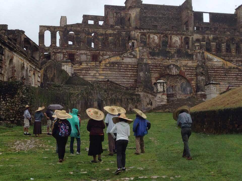 I love our Haitian umbrellas - large sombreros!